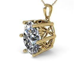 1 CTW VS/SI Oval Diamond Solitaire Necklace 18K Yellow Gold - REF-279K2W - 35866