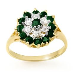 1.02 CTW Emerald & Diamond Ring 10K Yellow Gold - REF-21K6W - 12495
