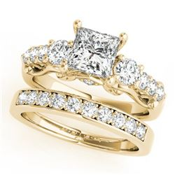 1.85 CTW Certified VS/SI Diamond 3 Stone Princess Cut 2Pc Set 14K Yellow Gold - REF-305M5H - 32026