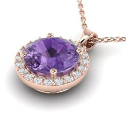 2 CTW Amethyst & Halo VS/SI Diamond Micro Pave Necklace 14K Rose Gold - REF-34N2Y - 21548