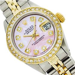Rolex Ladies Two Tone 14K Gold/SS, Diamond Dial, Diam/Ruby Bezel, Sapphire Crystal - REF-434N7A