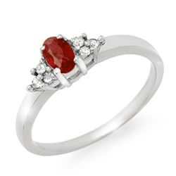 0.52 CTW Ruby & Diamond Ring 18K White Gold - REF-38N2Y - 12461