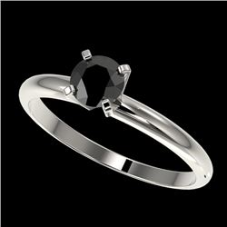 0.50 CTW Fancy Black VS Diamond Solitaire Engagement Ring 10K White Gold - REF-23H3A - 32858