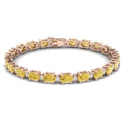 25.8 CTW Citrine & VS/SI Certified Diamond Eternity Bracelet 10K Rose Gold - REF-118A4X - 29448