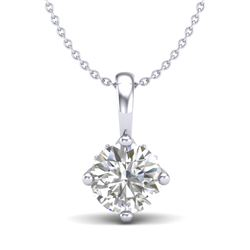 0.82 CTW VS/SI Diamond Solitaire Art Deco Stud Necklace 18K White Gold - REF-180A2X - 37025