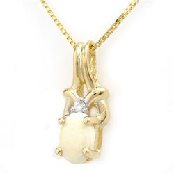 0.50 CTW Opal & Diamond Pendant 10K Yellow Gold - REF-10K5W - 12699