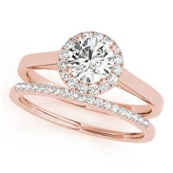 1.42 CTW Certified VS/SI Diamond 2Pc Wedding Set Solitaire Halo 14K Rose Gold - REF-391X8T - 30991