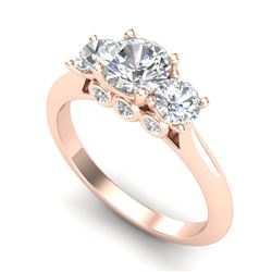 1.5 CTW VS/SI Diamond Solitaire Art Deco 3 Stone Ring 18K Rose Gold - REF-236M4H - 37314