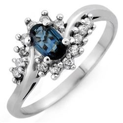 0.50 CTW Blue Sapphire & Diamond Ring 14K White Gold - REF-32M2H - 10363