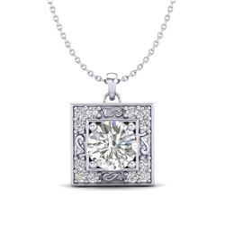 1.02 CTW VS/SI Diamond Solitaire Art Deco Necklace 18K White Gold - REF-200F2N - 37271