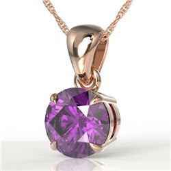 2 CTW Amethyst Designer Inspired Solitaire Necklace 14K Rose Gold - REF-24X8T - 22008