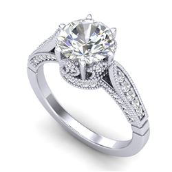 2.2 CTW VS/SI Diamond Art Deco Ring 18K White Gold - REF-725M5H - 37238