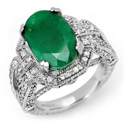 8.50 CTW Emerald & Diamond Ring 14K White Gold - REF-155N3Y - 11900