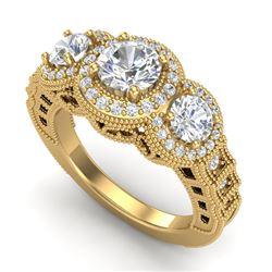 2.16 CTW VS/SI Diamond Solitaire Art Deco 3 Stone Ring 18K Yellow Gold - REF-361F8N - 36970