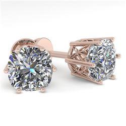 1.0 CTW VS/SI Cut Cushion Diamond Stud Solitaire Earrings 18K Rose Gold - REF-178X2T - 35831
