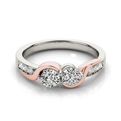 1.25 CTW Certified VS/SI Diamond 2 Stone Ring 18K White & Rose Gold - REF-216X9T - 28213