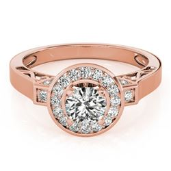 1.5 CTW Certified VS/SI Diamond Solitaire Halo Ring 18K Rose Gold - REF-394X5T - 27085