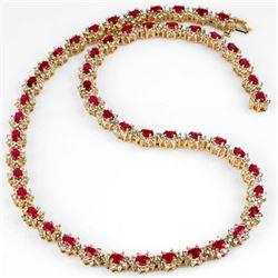 27.10 CTW Ruby & Diamond Necklace 14K Yellow Gold - REF-854T2M - 13165