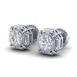 1.11 CTW VS/SI Diamond Solitaire Art Deco Stud Earrings 18K White Gold - REF-218H2A - 36875