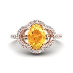 1.75 CTW Citrine & Micro Pave VS/SI Diamond Ring 10K Rose Gold - REF-32K9W - 20978