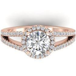 2 CTW Certified VS/SI Diamond Solitaire Micro Halo Ring 14K Rose Gold - REF-512K2W - 30379