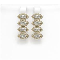 5.92 CTW Marquise Diamond Designer Earrings 18K Yellow Gold - REF-1098A8X - 42838