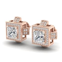 2.75 CTW Princess VS/SI Diamond Micro Pave Stud Earrings 18K Rose Gold - REF-684T3M - 37188
