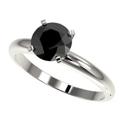 1.50 CTW Fancy Black VS Diamond Solitaire Engagement Ring 10K White Gold - REF-47A3X - 32925