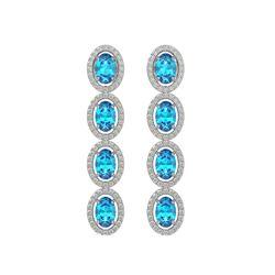6.28 CTW Swiss Topaz & Diamond Halo Earrings 10K White Gold - REF-103F6N - 40535
