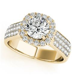1.8 CTW Certified VS/SI Diamond Solitaire Halo Ring 18K Yellow Gold - REF-435A5X - 26792