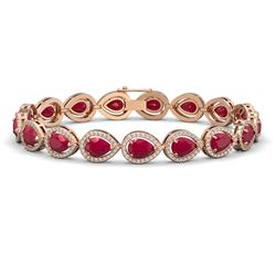 21.69 CTW Ruby & Diamond Halo Bracelet 10K Rose Gold - REF-315K5W - 41094