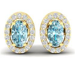 0.80 CTW Sky Blue Topaz & Micro Pave VS/SI Diamond Earrings Halo 18K Yellow Gold - REF-29X3T - 21181