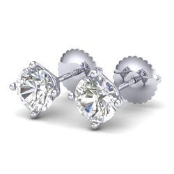 1.5 CTW VS/SI Diamond Solitaire Art Deco Stud Earrings 18K White Gold - REF-309T3M - 37301