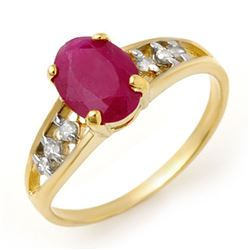 1.70 CTW Ruby & Diamond Ring 10K Yellow Gold - REF-18F2N - 13957