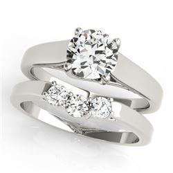 0.6725 CTW Certified VS/SI Diamond 2Pc Set Solitaire Wedding 14K White Gold - REF-105H3A - 32105