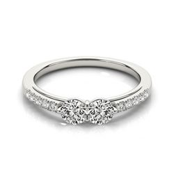 0.85 CTW Certified VS/SI Diamond 2 Stone 2 Stone Ring 18K White Gold - REF-110W9F - 28233
