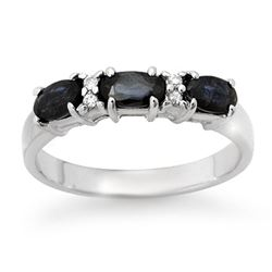 1.09 CTW Blue Sapphire & Diamond Ring 18K White Gold - REF-38H8A - 12339