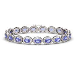 14.25 CTW Tanzanite & Diamond Halo Bracelet 10K White Gold - REF-273Y5K - 40460