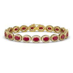 15.2 CTW Ruby & Diamond Halo Bracelet 10K Yellow Gold - REF-255T3M - 40456