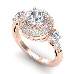 2.05 CTW VS/SI Diamond Solitaire Art Deco 3 Stone Ring 18K Rose Gold - REF-490X9T - 37263