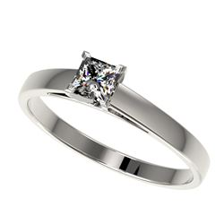 0.50 CTW Certified VS/SI Quality Princess Diamond Solitaire Ring 10K White Gold - REF-64F3N - 32965