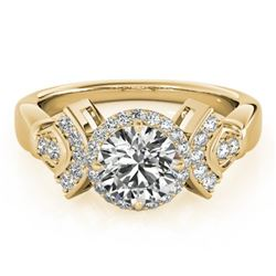 1.56 CTW Certified VS/SI Diamond Solitaire Halo Ring 18K Yellow Gold - REF-506F9N - 26951