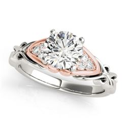 1.1 CTW Certified VS/SI Diamond Solitaire Ring 18K White & Rose Gold - REF-309H8A - 27824