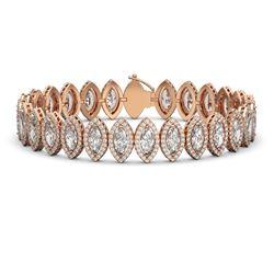 20.25 CTW Marquise Diamond Designer Bracelet 18K Rose Gold - REF-3736F4N - 42834