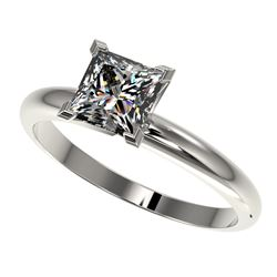 1.25 CTW Certified VS/SI Quality Princess Diamond Solitaire Ring 10K White Gold - REF-372N3Y - 32916
