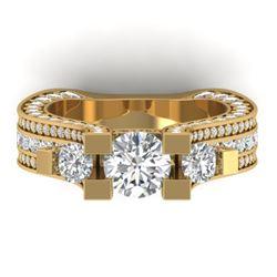 5.5 CTW Certified VS/SI Diamond Art Deco 3 Stone Micro Ring 14K Yellow Gold - REF-638F9N - 30296