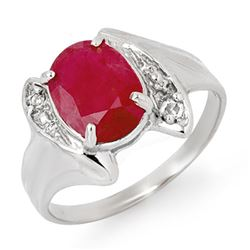3.12 CTW Ruby & Diamond Ring 18K White Gold - REF-50H9A - 14058