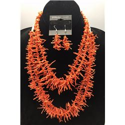 2 Coral Necklaces and Pair of Earrings