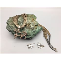 Silver Horse Necklace and Earrings