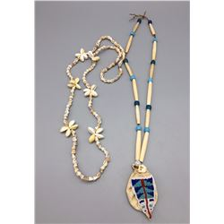 2 Vintage, Beaded Shell Necklaces